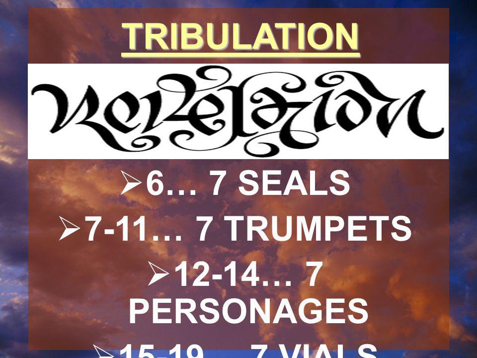 TRIBULATION  6… 7 SEALS  7-11… 7 TRUMPETS  12-14… 7 PERSONAGES  15-19… 7 VIALS