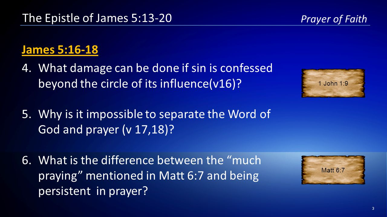 3 Prayer of Faith The Epistle of James 5:13-20 James 5:16-18 4.What damage can be done if sin is confessed beyond the circle of its influence(v16).