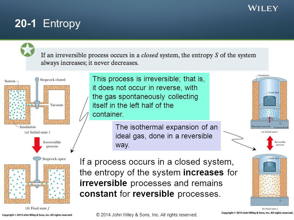 20-1 Entropy If a process occurs in a closed system, the entropy of the system increases for irreversible processes and remains constant for reversibl
