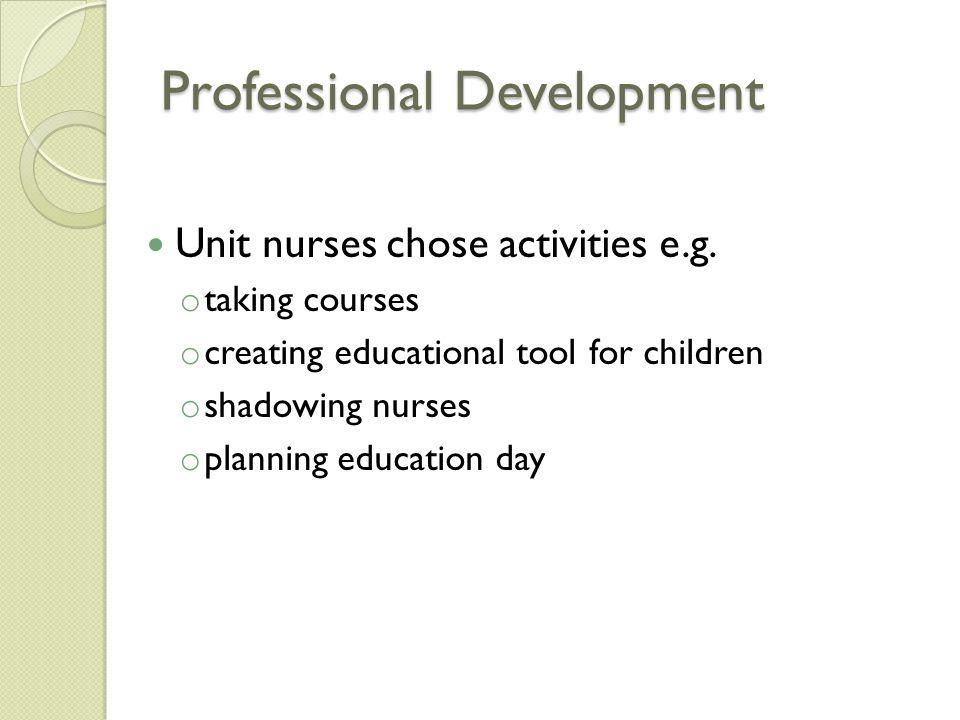Professional Development Unit nurses chose activities e.g.