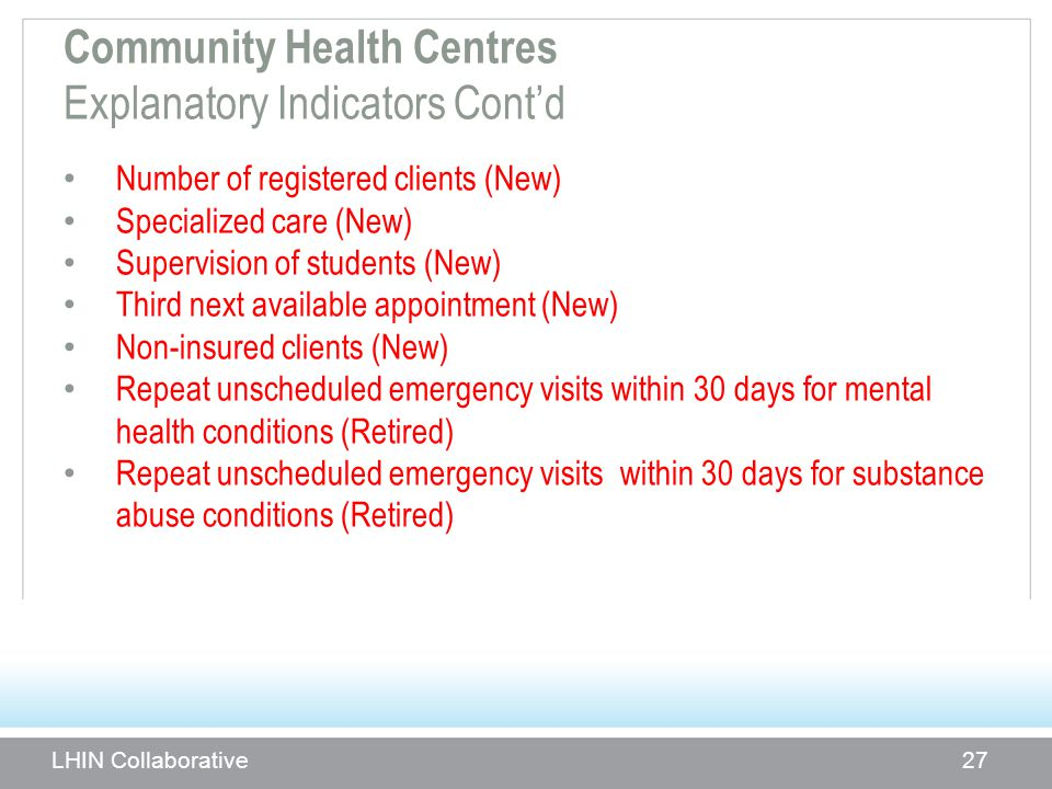 Community Health Centres Explanatory Indicators Cont'd Number of registered clients (New) Specialized care (New) Supervision of students (New) Third n