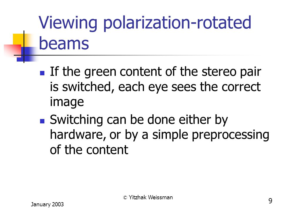 January 2003 © Yitzhak Weissman 9 Viewing polarization-rotated beams If the green content of the stereo pair is switched, each eye sees the correct image Switching can be done either by hardware, or by a simple preprocessing of the content