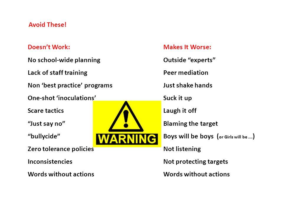 Avoid These.