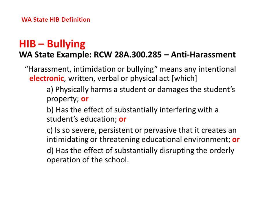 WA State HIB Definition