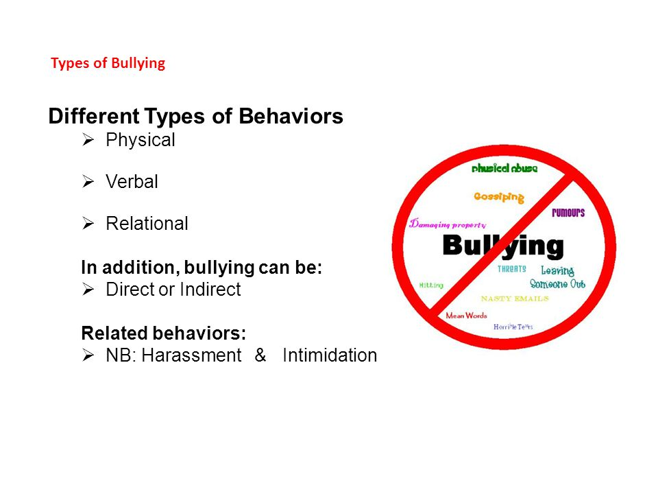 Types of Bullying Different Types of Behaviors  Physical  Verbal  Relational In addition, bullying can be:  Direct or Indirect Related behaviors:  NB: Harassment & Intimidation
