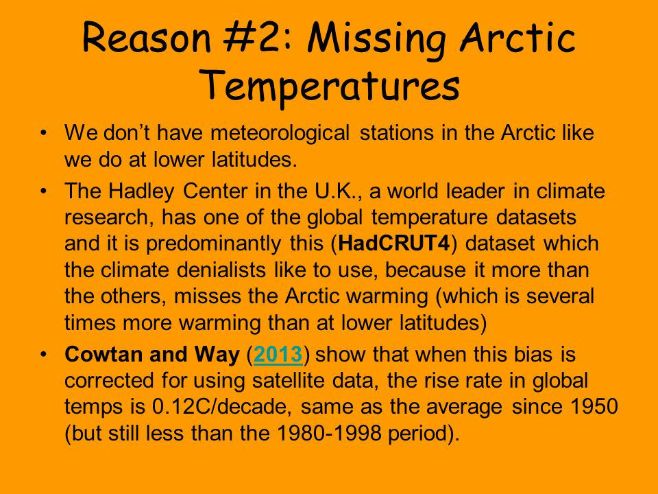 Reason #2: Missing Arctic Temperatures We don't have meteorological stations in the Arctic like we do at lower latitudes.