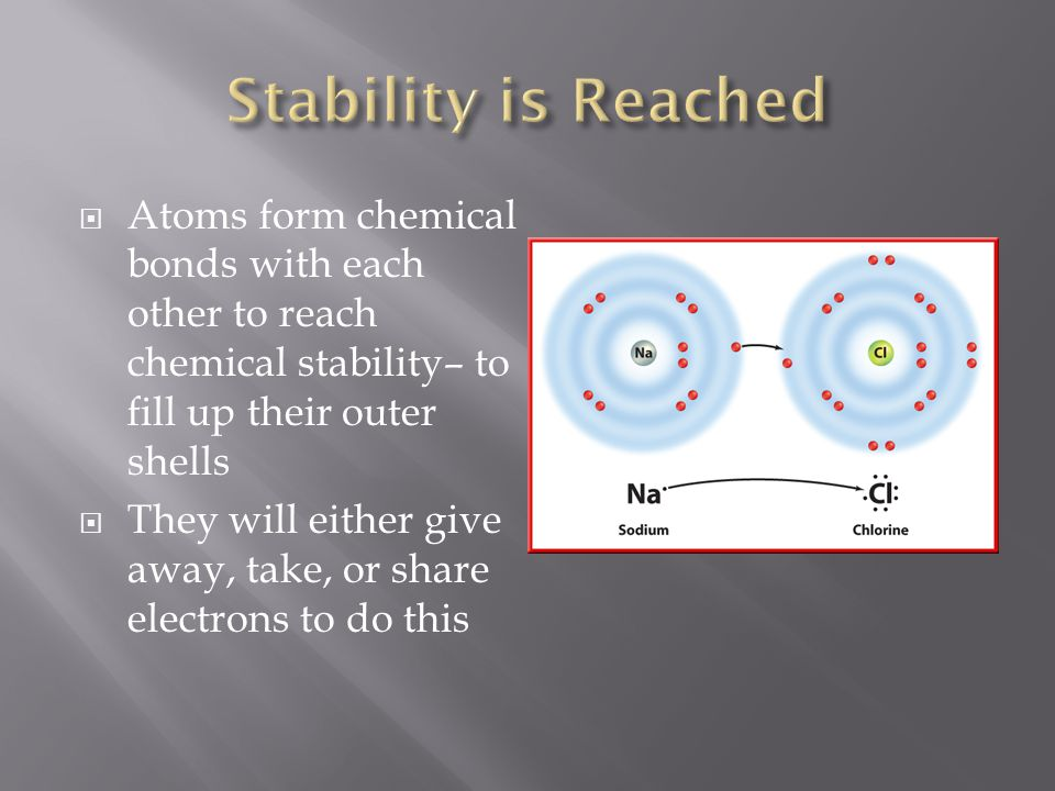  Atoms form chemical bonds with each other to reach chemical stability– to fill up their outer shells  They will either give away, take, or share el