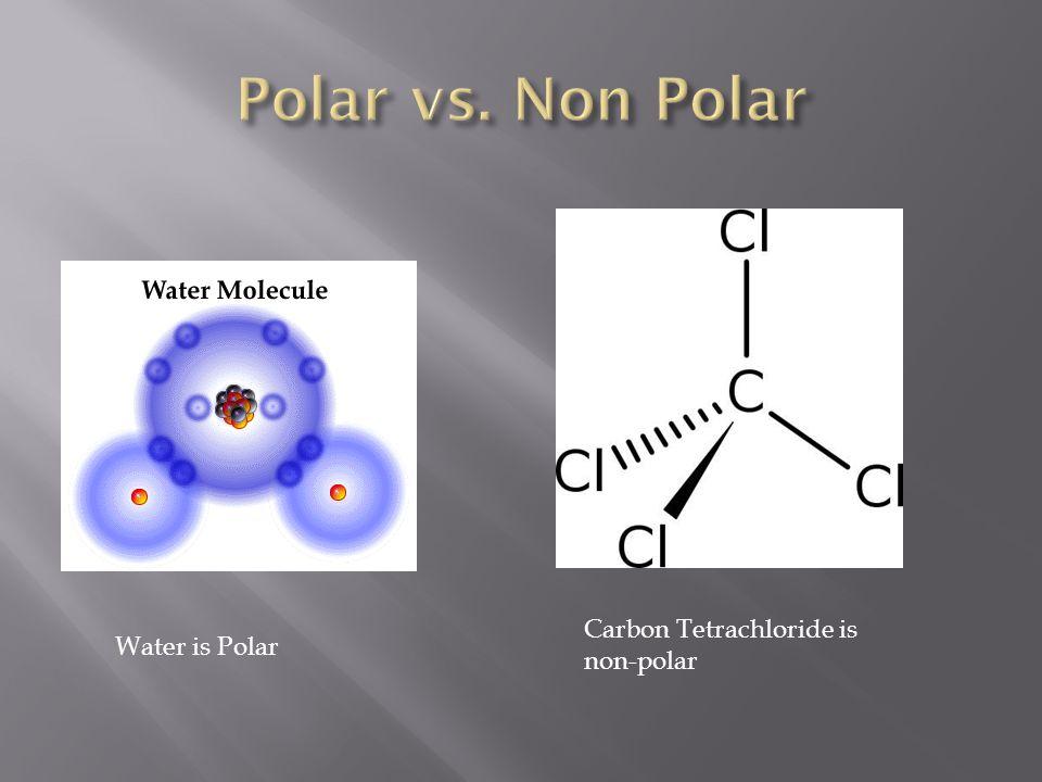 Water is Polar Carbon Tetrachloride is non-polar