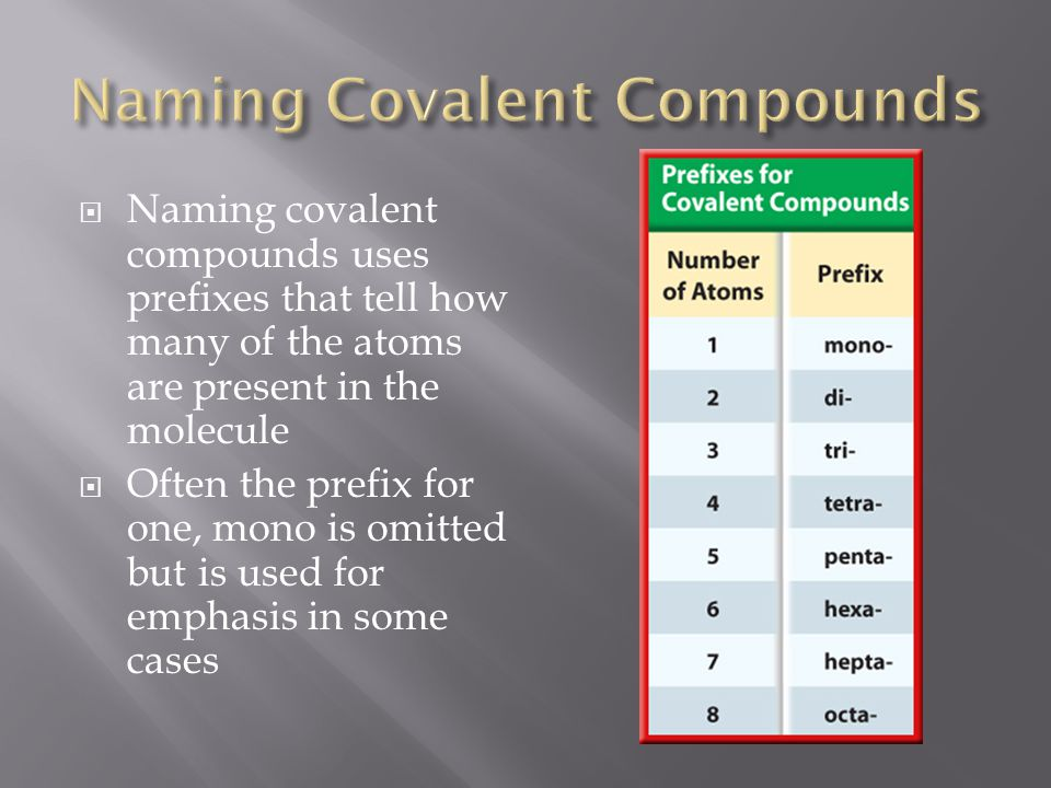  Naming covalent compounds uses prefixes that tell how many of the atoms are present in the molecule  Often the prefix for one, mono is omitted but is used for emphasis in some cases