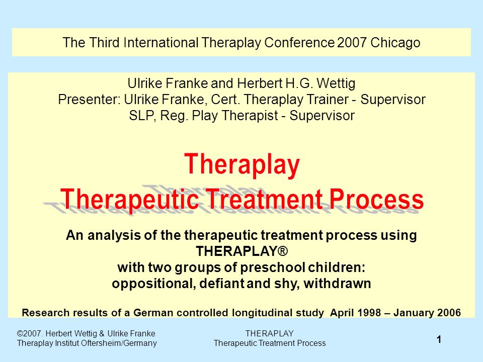 The Third International Theraplay Conference 2007 Chicago Ulrike Franke and Herbert H.G.
