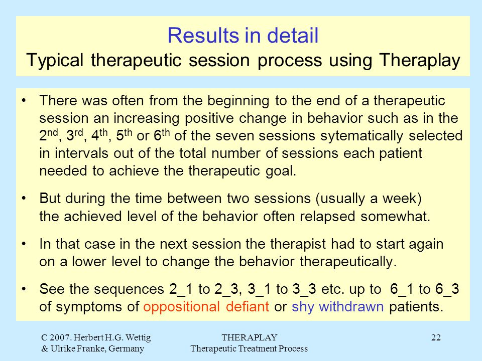 C 2007. Herbert H.G. Wettig & Ulrike Franke, Germany THERAPLAY Therapeutic Treatment Process 22 Results in detail Typical therapeutic session process