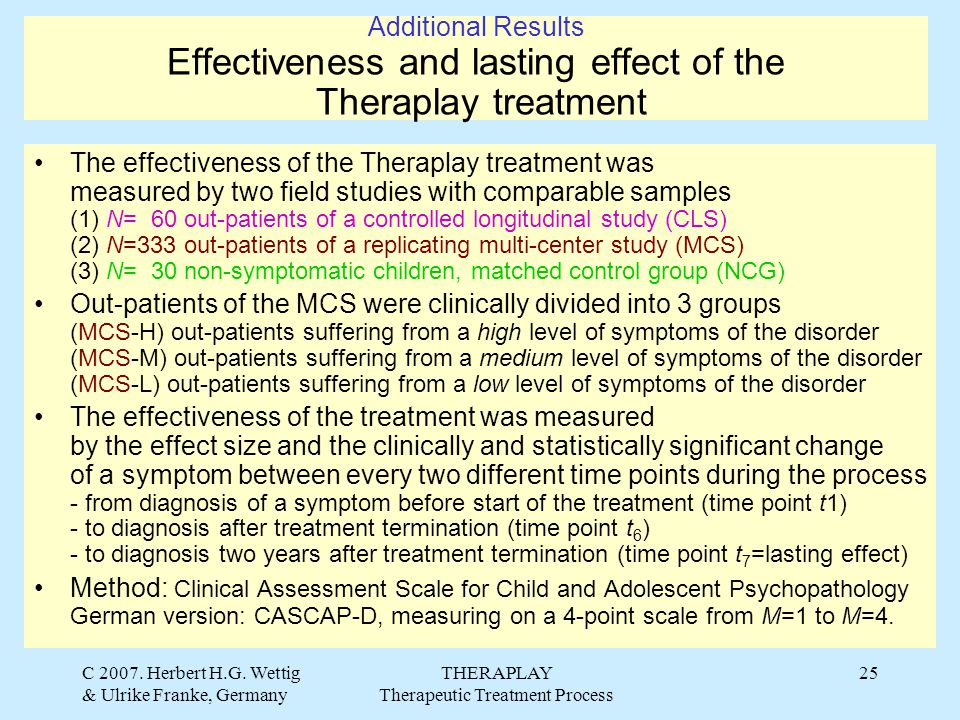 C 2007. Herbert H.G. Wettig & Ulrike Franke, Germany THERAPLAY Therapeutic Treatment Process 25 Additional Results Effectiveness and lasting effect of