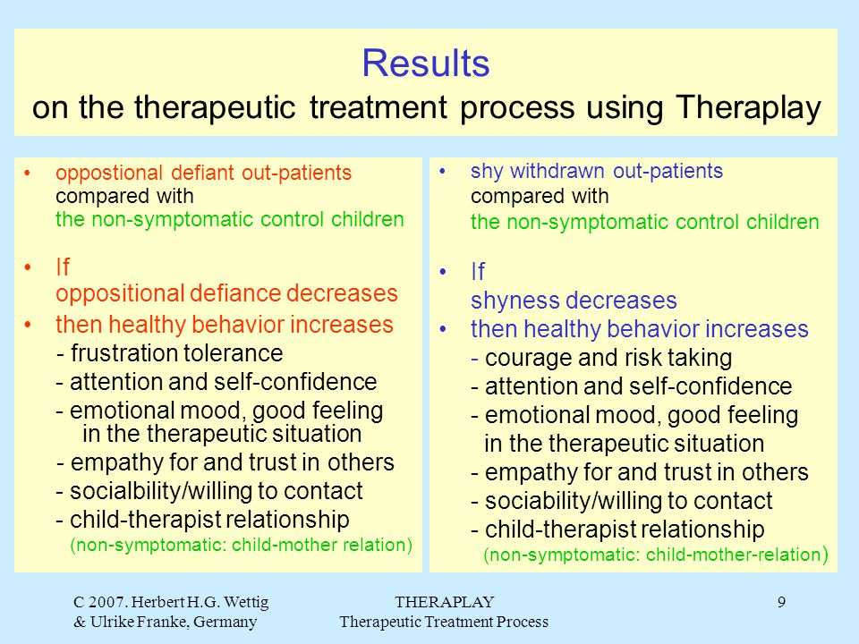 C 2007. Herbert H.G. Wettig & Ulrike Franke, Germany THERAPLAY Therapeutic Treatment Process 9 Results on the therapeutic treatment process using Ther