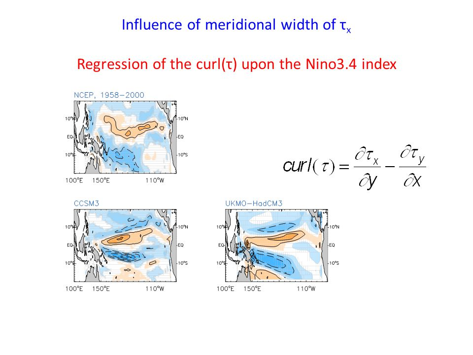 Influence of meridional width of τ x Regression of the curl(τ) upon the Nino3.4 index