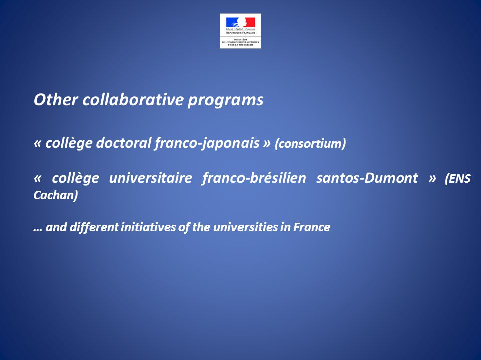 Other collaborative programs « collège doctoral franco-japonais » (consortium) « collège universitaire franco-brésilien santos-Dumont » (ENS Cachan) … and different initiatives of the universities in France