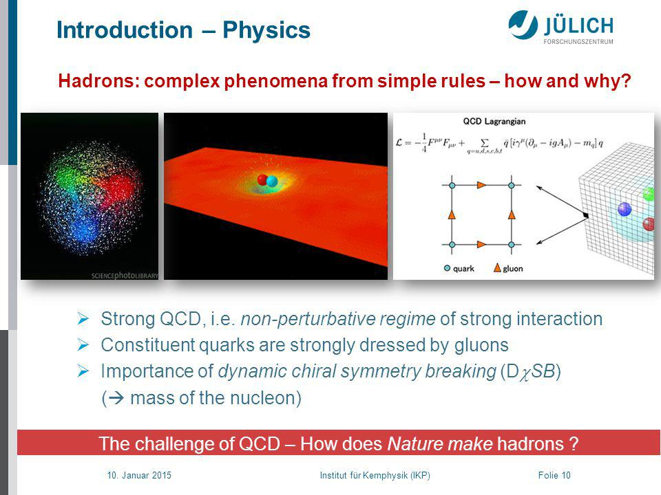 10. Januar 2015 Institut für Kernphysik (IKP) Folie 10 Introduction – Physics Hadrons: complex phenomena from simple rules – how and why?  Strong QCD