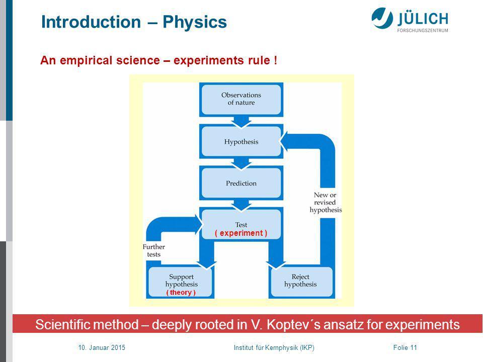 10. Januar 2015 Institut für Kernphysik (IKP) Folie 11 Scientific method – deeply rooted in V.
