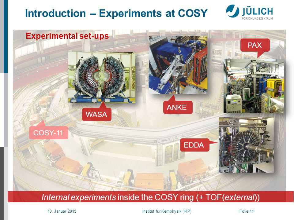 10. Januar 2015 Institut für Kernphysik (IKP) Folie 14 Introduction – Experiments at COSY Experimental set-ups Internal experiments inside the COSY ri