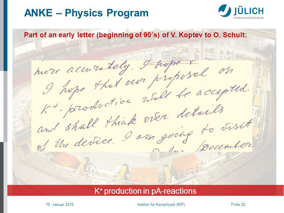 10. Januar 2015 Institut für Kernphysik (IKP) Folie 22 ANKE – Physics Program K + production in pA-reactions Part of an early letter (beginning of 90´