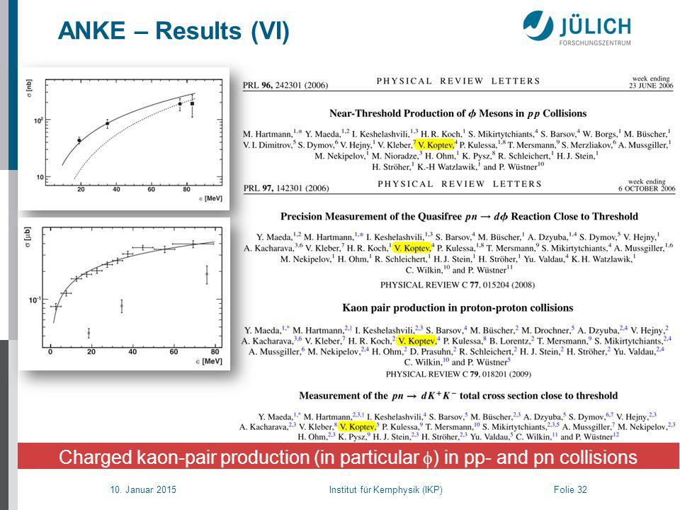 10. Januar 2015 Institut für Kernphysik (IKP) Folie 32 ANKE – Results (VI) Charged kaon-pair production (in particular  ) in pp- and pn collisions