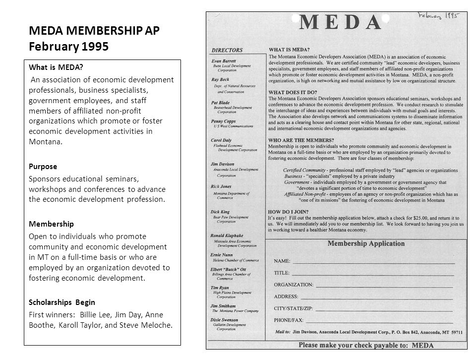 MEDA MEMBERSHIP AP February 1995 What is MEDA? An association of economic development professionals, business specialists, government employees, and s