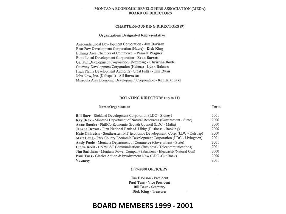 BOARD MEMBERS 1999 - 2001