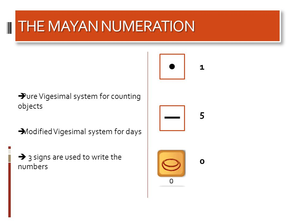 THE MAYAN NUMERATION  Pure Vigesimal system for counting objects  Modified Vigesimal system for days  3 signs are used to write the numbers 150150