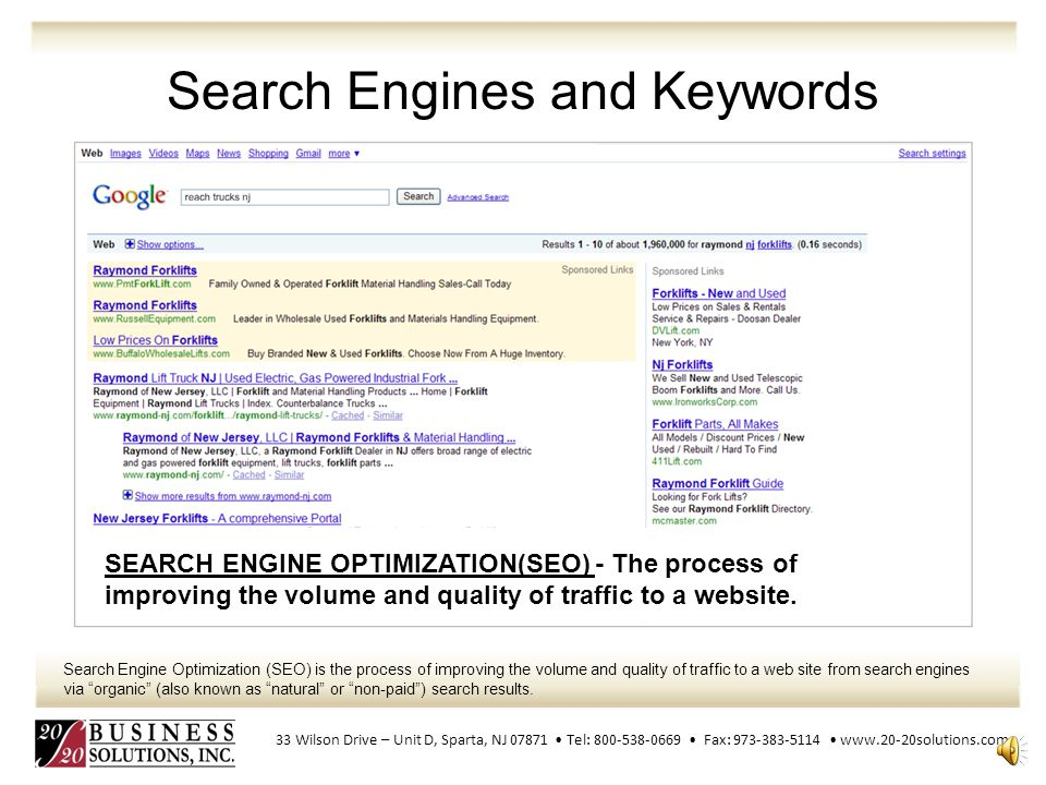 Search Engines and Keywords When searching for reach trucks nj, Raymond-NJ.com appears first on the organic search results.