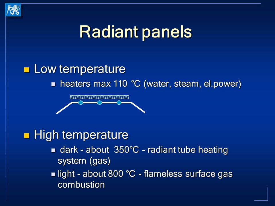 Radiant panels Low temperature Low temperature heaters max 110 °C (water, steam, el.power) heaters max 110 °C (water, steam, el.power) High temperatur