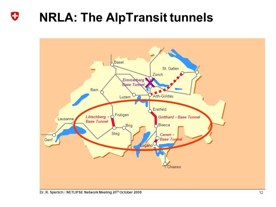 12 Dr. R. Sperlich / NETLIPSE Network Meeting 20 th October 2008 NRLA: The AlpTransit tunnels Lötschberg - Base Tunnel Gotthard - Base Tunnel Ceneri -