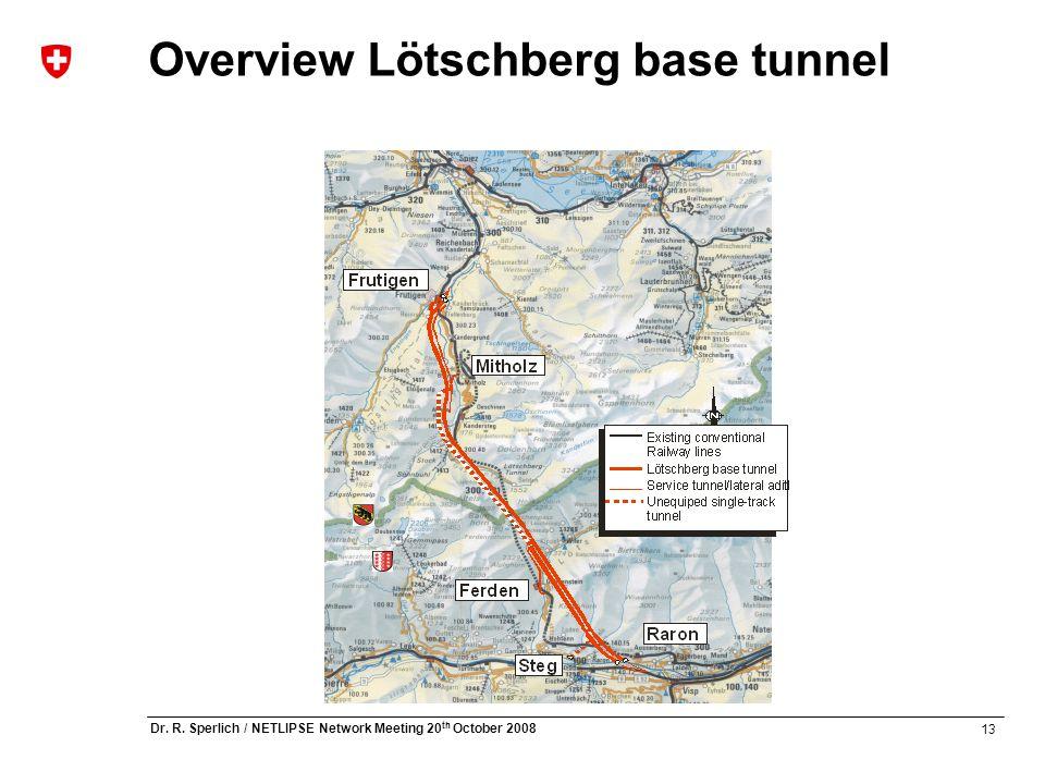 13 Dr. R. Sperlich / NETLIPSE Network Meeting 20 th October 2008 Overview Lötschberg base tunnel