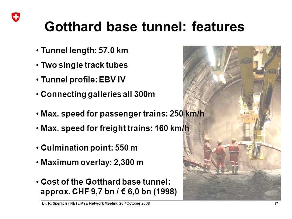 17 Dr. R. Sperlich / NETLIPSE Network Meeting 20 th October 2008 Gotthard base tunnel: features Tunnel length: 57.0 km Two single track tubes Tunnel p