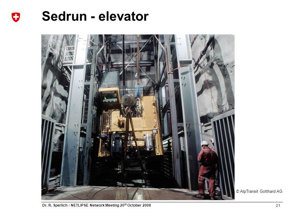 21 Dr. R. Sperlich / NETLIPSE Network Meeting 20 th October 2008 © AlpTransit Gotthard AG Sedrun - elevator