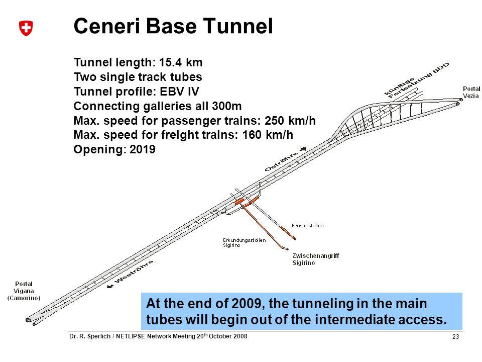 23 Dr. R. Sperlich / NETLIPSE Network Meeting 20 th October 2008 Ceneri Base Tunnel Tunnel length: 15.4 km Two single track tubes Tunnel profile: EBV