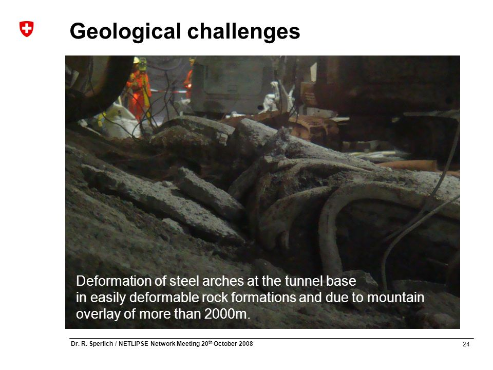 24 Dr. R. Sperlich / NETLIPSE Network Meeting 20 th October 2008 Geological challenges Deformation of steel arches at the tunnel base in easily deform