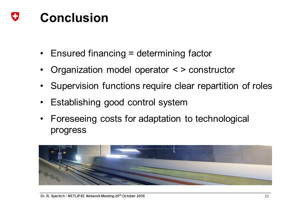 33 Dr. R. Sperlich / NETLIPSE Network Meeting 20 th October 2008 Conclusion Ensured financing = determining factor Organization model operator constru