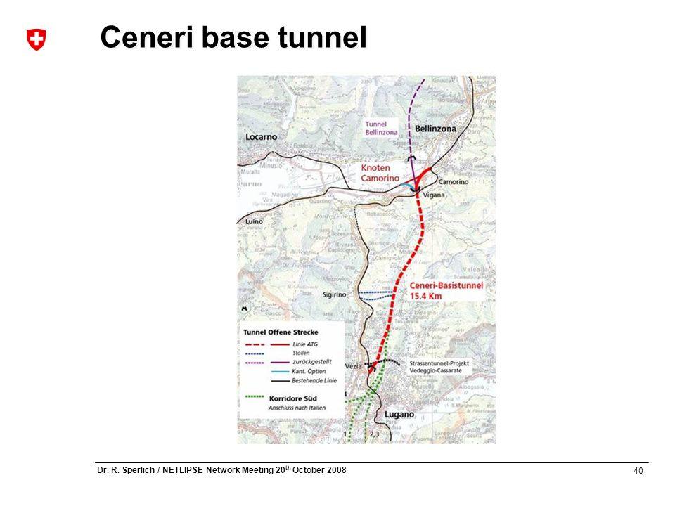 40 Dr. R. Sperlich / NETLIPSE Network Meeting 20 th October 2008 Ceneri base tunnel