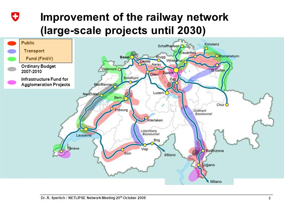 8 Dr. R. Sperlich / NETLIPSE Network Meeting 20 th October 2008 Improvement of the railway network (large-scale projects until 2030) Public Transport