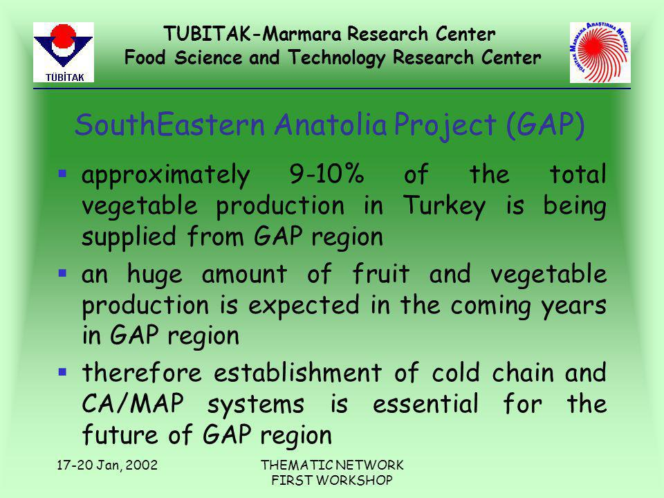TUBITAK-Marmara Research Center Food Science and Technology Research Center 17-20 Jan, 2002THEMATIC NETWORK FIRST WORKSHOP SouthEastern Anatolia Project (GAP) §approximately 9-10% of the total vegetable production in Turkey is being supplied from GAP region §an huge amount of fruit and vegetable production is expected in the coming years in GAP region §therefore establishment of cold chain and CA/MAP systems is essential for the future of GAP region