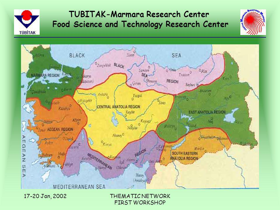 TUBITAK-Marmara Research Center Food Science and Technology Research Center 17-20 Jan, 2002THEMATIC NETWORK FIRST WORKSHOP
