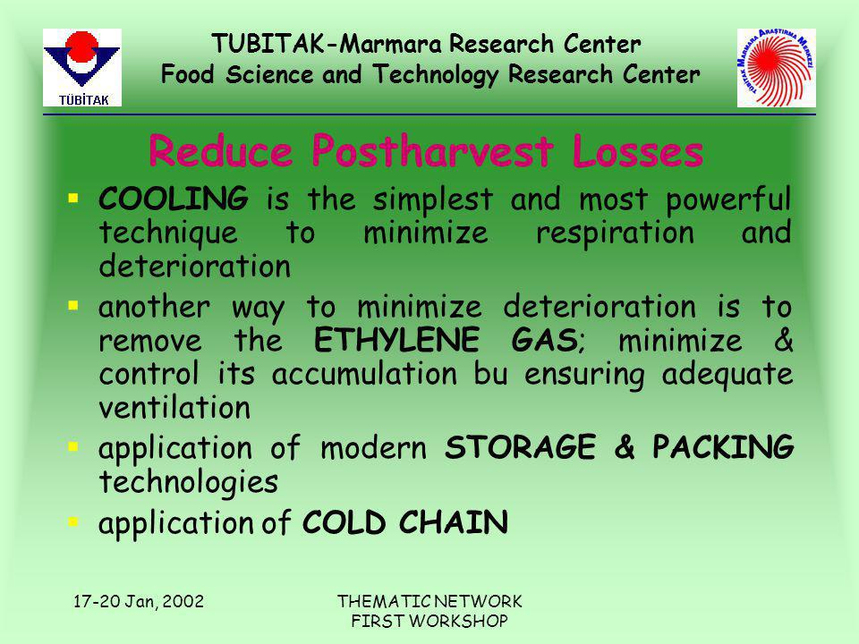 TUBITAK-Marmara Research Center Food Science and Technology Research Center 17-20 Jan, 2002THEMATIC NETWORK FIRST WORKSHOP Reduce Postharvest Losses §COOLING is the simplest and most powerful technique to minimize respiration and deterioration §another way to minimize deterioration is to remove the ETHYLENE GAS; minimize & control its accumulation bu ensuring adequate ventilation §application of modern STORAGE & PACKING technologies §application of COLD CHAIN