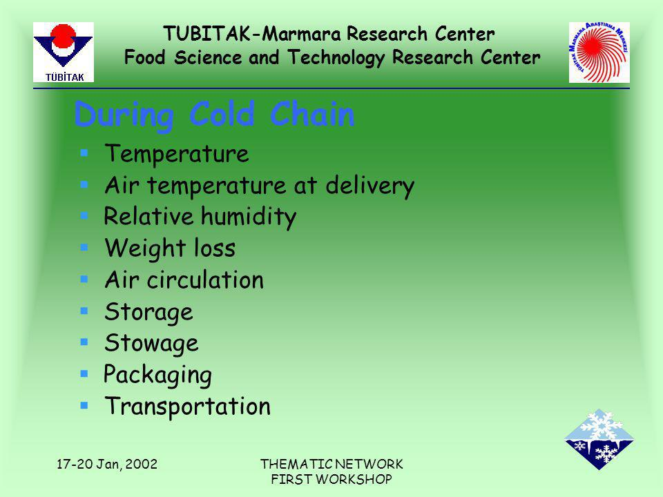 TUBITAK-Marmara Research Center Food Science and Technology Research Center 17-20 Jan, 2002THEMATIC NETWORK FIRST WORKSHOP During Cold Chain §Temperature §Air temperature at delivery §Relative humidity §Weight loss §Air circulation §Storage §Stowage §Packaging §Transportation