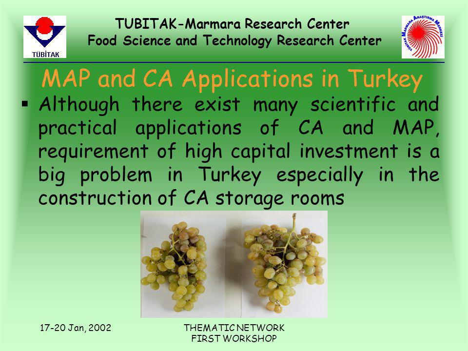 TUBITAK-Marmara Research Center Food Science and Technology Research Center 17-20 Jan, 2002THEMATIC NETWORK FIRST WORKSHOP MAP and CA Applications in