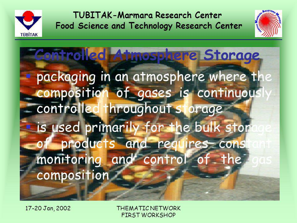 TUBITAK-Marmara Research Center Food Science and Technology Research Center 17-20 Jan, 2002THEMATIC NETWORK FIRST WORKSHOP Controlled Atmosphere Stora