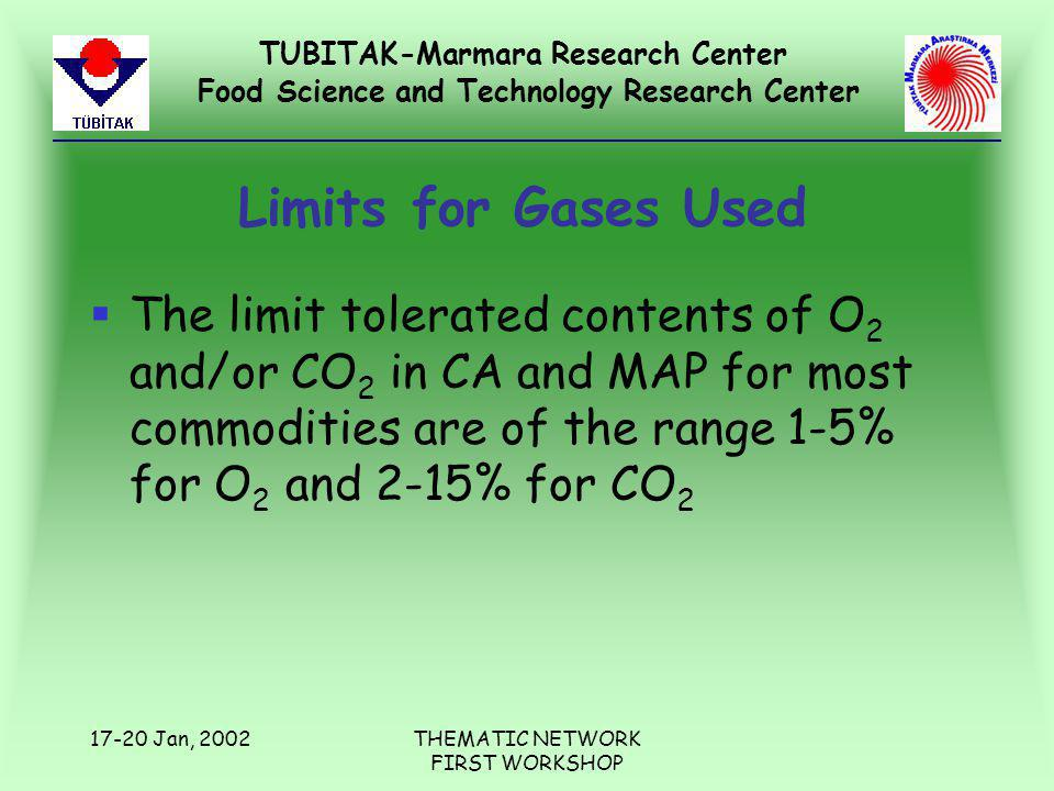 TUBITAK-Marmara Research Center Food Science and Technology Research Center 17-20 Jan, 2002THEMATIC NETWORK FIRST WORKSHOP Limits for Gases Used §The