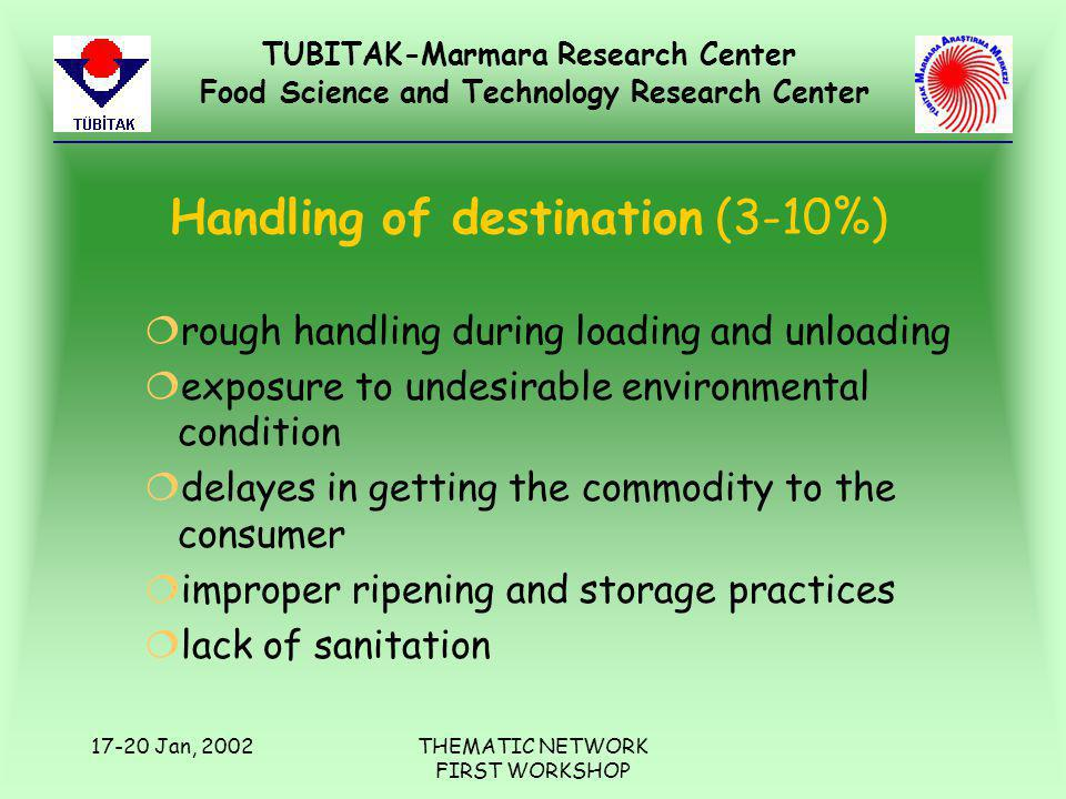 TUBITAK-Marmara Research Center Food Science and Technology Research Center 17-20 Jan, 2002THEMATIC NETWORK FIRST WORKSHOP Handling of destination (3-10%) ¦rough handling during loading and unloading ¦exposure to undesirable environmental condition ¦delayes in getting the commodity to the consumer ¦improper ripening and storage practices ¦lack of sanitation