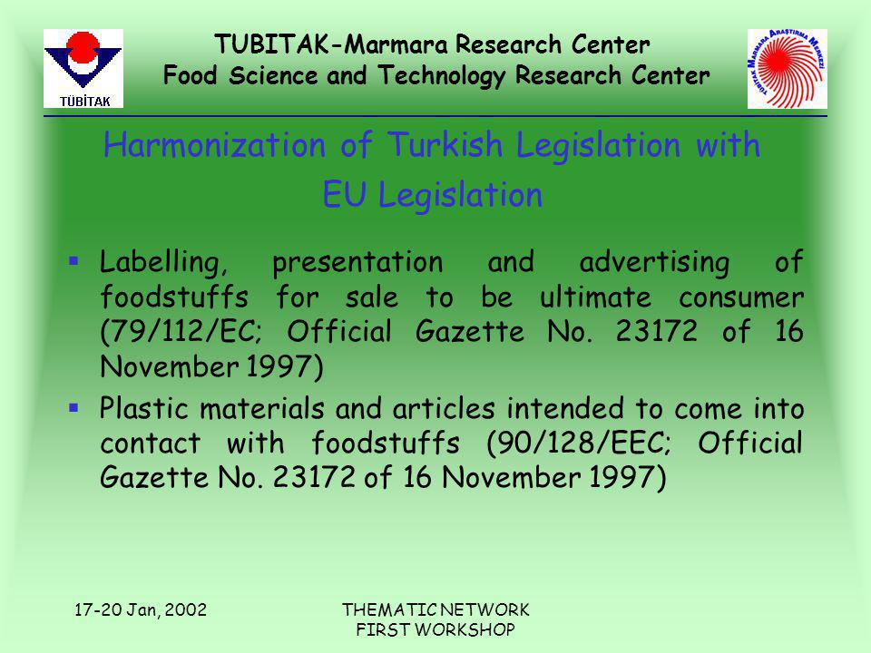 TUBITAK-Marmara Research Center Food Science and Technology Research Center 17-20 Jan, 2002THEMATIC NETWORK FIRST WORKSHOP Harmonization of Turkish Le