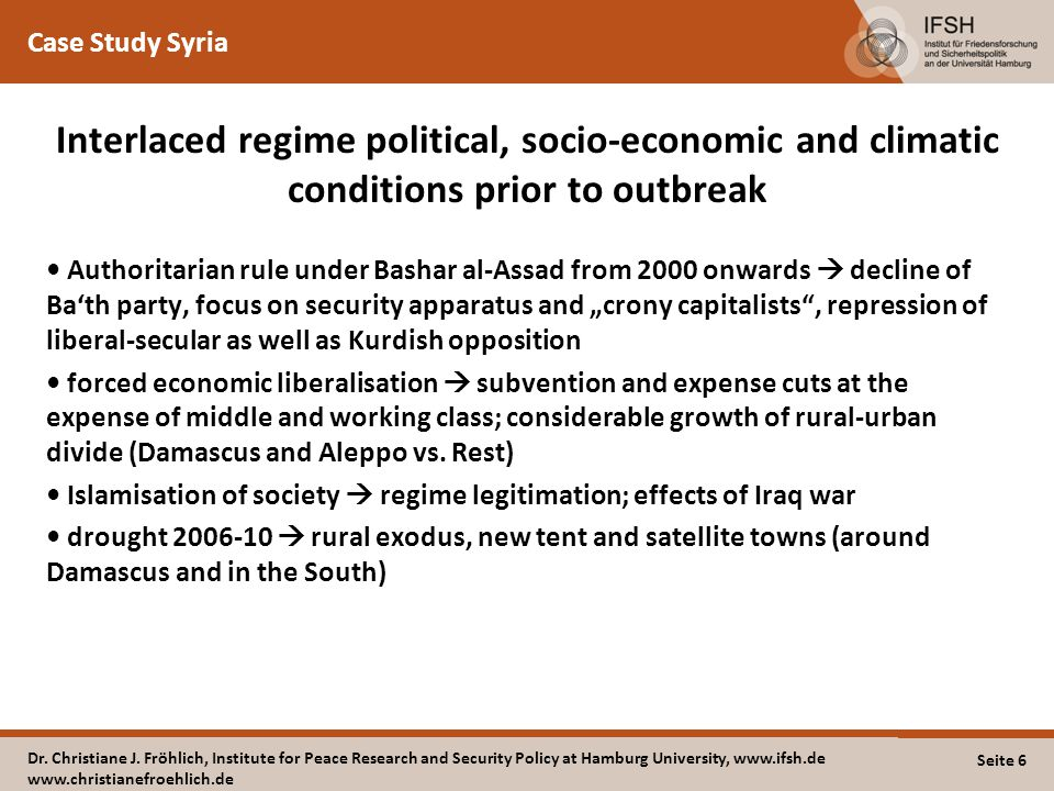 "Case Study Syria Interlaced regime political, socio-economic and climatic conditions prior to outbreak Authoritarian rule under Bashar al-Assad from 2000 onwards  decline of Ba'th party, focus on security apparatus and ""crony capitalists , repression of liberal-secular as well as Kurdish opposition forced economic liberalisation  subvention and expense cuts at the expense of middle and working class; considerable growth of rural-urban divide (Damascus and Aleppo vs."