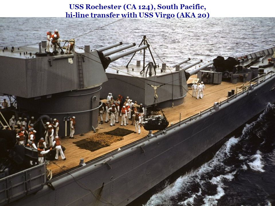 USS Rochester (CA 124), South Pacific, hi-line transfer with USS Virgo (AKA 20)