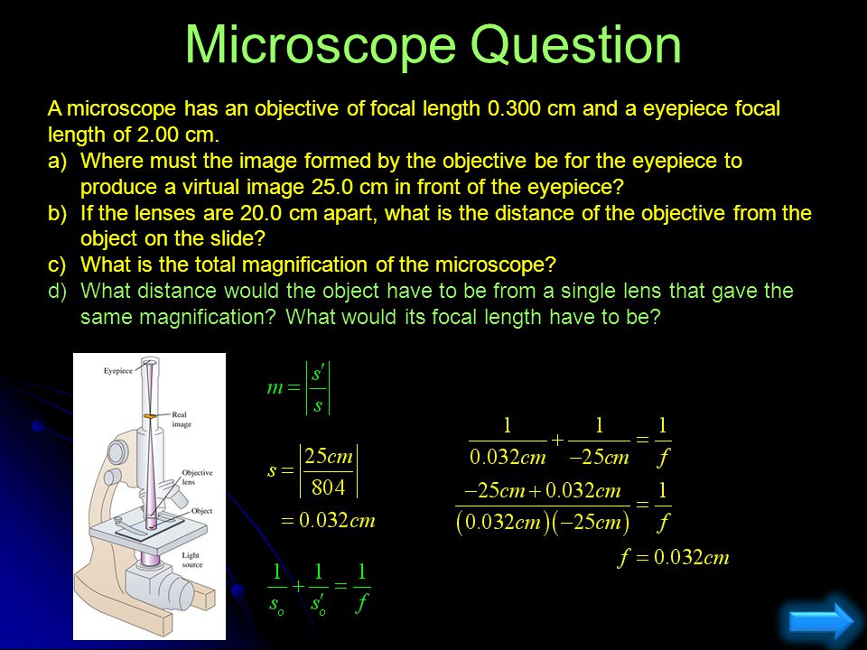 Microscope Question A microscope has an objective of focal length 0.300 cm and a eyepiece focal length of 2.00 cm. a)Where must the image formed by th